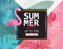 Creative illustration summer sale banner with flamingo and tropical leaves background.