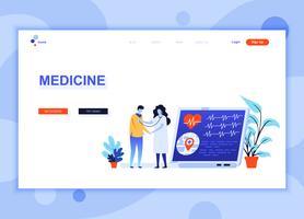 Il concetto di modello di progettazione di pagina web piatto moderno di medicina e sanità ha decorato il carattere di persone per il sito Web e lo sviluppo di siti Web mobili. Modello di pagina di destinazione semplice. Illustrazione vettoriale