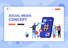 Modern flat web page design template concept of Social Media decorated people character for website and mobile website development. Flat landing page template. Vector illustration.
