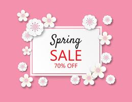 Creative vector illustration Spring sale banner background paper cut style.