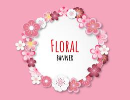 Creative vector illustration floral banner background paper cut style.