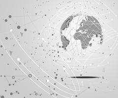 abstrakt teknologi koncept värld digital länk på hi tech vit grå bakgrund