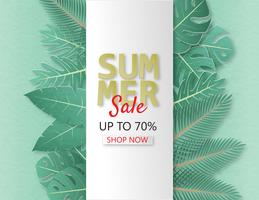 Creative illustration summer sale banner with papercut and tropical leaves background.