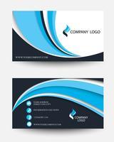 Plantilla de tarjeta creativa de negocios modernos en diseño de onda negro y azul