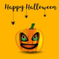 pumpkin in Halloween on orange background, vector and illustration