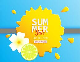 Creative illustration summer sale banner with lemon and plumeria flower in paper cut style.