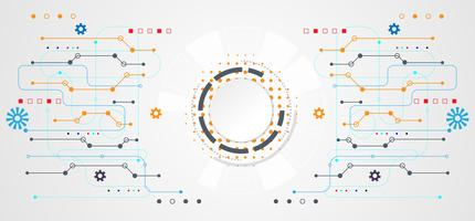 abstract technology concept circle white digital on hi tech white gray background