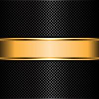Black metal mesh and gold label banner background vector illustration.