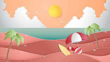 Creative illustration summer background concept with landscape of beach and sea.