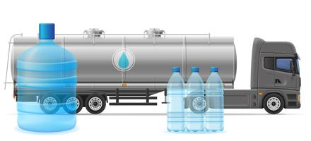 truck semi trailer delivery and transportation of purified drinking water concept vector illustration