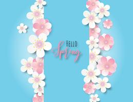 Plum flower or cherry blossom with blue background. vector