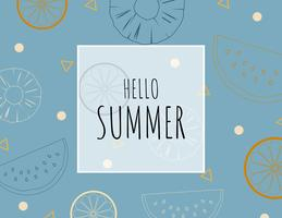 Creative illustration summer background with outline tropical fruits.