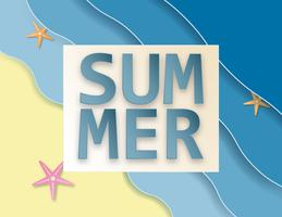 Creative illustration summer sale background with sea and beach paper cut style.
