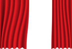 Red curtain fabric on white background vector illustration.