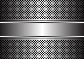 Abstract silver banner on hexagon mesh design luxury modern background vector illustration.