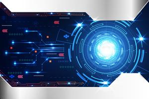 abstract technology background concept circle circuit digital metal blue on hi tech future design