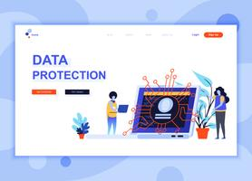Modern flat web page design template concept of Data Protection decorated people character for website and mobile website development. Flat landing page template. Vector illustration.