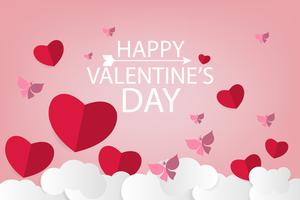 valentine paper art background with red heart and white cloud