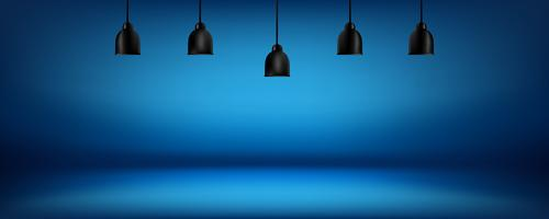 blue background with light boxes on ceiling, abstract gradient studio and wall texture