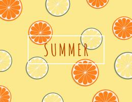 Creative illustration summer background with tropical fruits orange and lime.