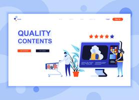 Modern flat web page design template concept of Quality Content decorated people character for website and mobile website development. Flat landing page template. Vector illustration.
