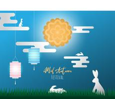 Creative illustration happy Chinese mid autumn festival.