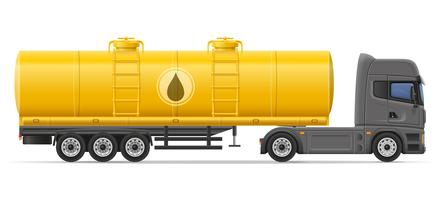truck semi trailer with tank for transporting liquids vector illustration