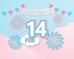 Creative colorful invitation card Valentine's day vector illustration paper cut style.
