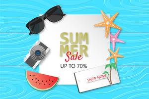 Creative illustration summer sale banner background paper cut style.