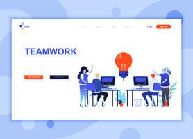 Modern flat web page design template concept of Teamwork decorated people character for website and mobile website development. Flat landing page template. Vector illustration.