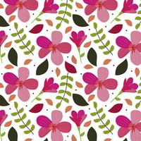 Pink flowers background with leaves