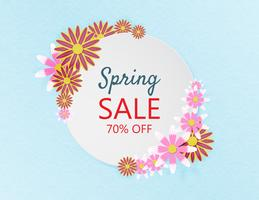 Creative spring sale banner background papercut style.