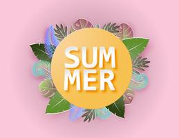 Creative illustration summer background concept with colorful tropical leaves.
