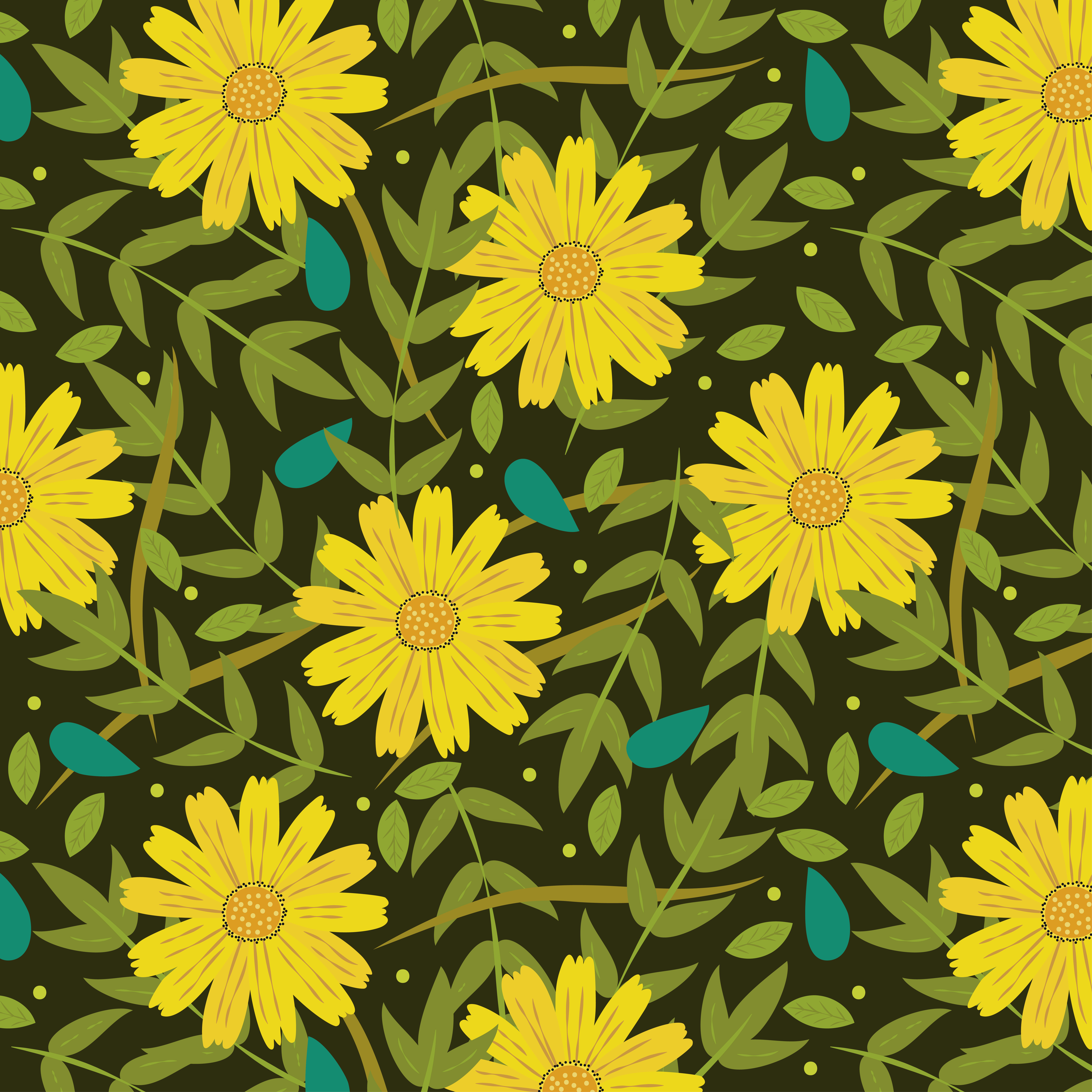 yellow flowers background with leaves download free vectors clipart graphics vector art vecteezy