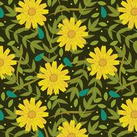 Yellow flowers background with leaves vector