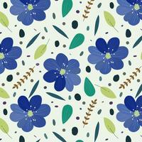 Blå blommönster