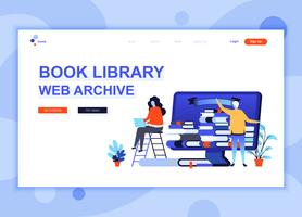 Modern flat web page design template concept of Book Library decorated people character for website and mobile website development. Flat landing page template. Vector illustration.