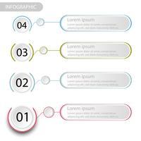 Infográfico de dados de negócios, gráfico de processo com 4 etapas, vetor e ilustração