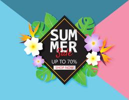 Summer sale banner template with paper cut tropical leaves and flower on pastel color background.