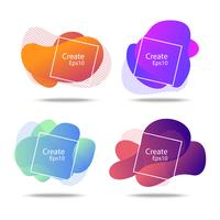 colorful fluid and wave badges background for creative design