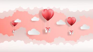 Creative valentines day background vector illustration paper cut style.
