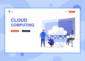 Modern flat web page design template concept of Cloud Technology decorated people character for website and mobile website development. Flat landing page template. Vector illustration.