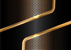 Abstract black gold line and circle mesh design modern luxury background vector illustration.