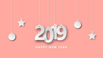 Happy new year 2019 vector illustration creative design paper cut style.
