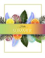 Creative illustration summer background with colorful fruit and tropical leaves.