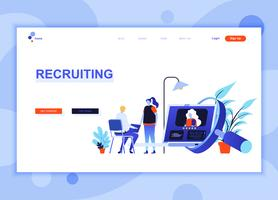 Modern flat web page design template concept of Recruiting decorated people character for website and mobile website development. Flat landing page template. Vector illustration.