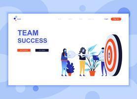 Moderne platte webpagina ontwerpsjabloon concept Teamsucces ingericht mensen karakter voor website en mobiele website-ontwikkeling. Sjabloon voor platte landingspagina's. Vector illustratie.