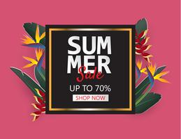 Creative illustration summer sale banner with tropical leaves in paper cut style.