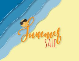 Creative illustration summer sale background with sea beach and sun paper cut style