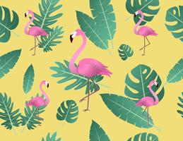 Creative vector illustration flamingo and tropical leaves.
